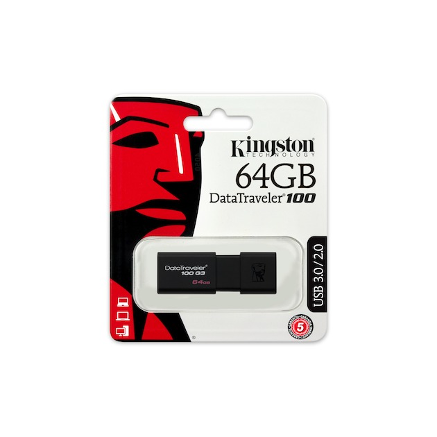 Kingston DataTraveler 100 G3 USB 3.0 64GB zwart