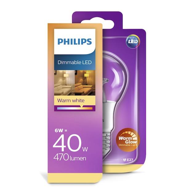 Philips LED lamp E27 6W 470Lm peer helder dimbaar