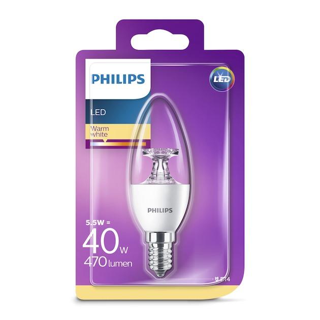Philips LED lamp E14 5,5W 470Lm kaars helder