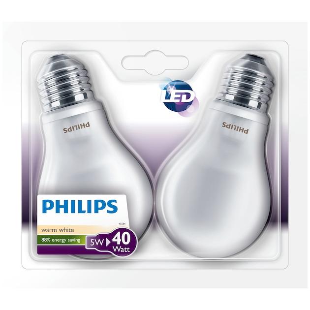 Philips LED lamp E27 6W 470Lm classic mat 2 stuks