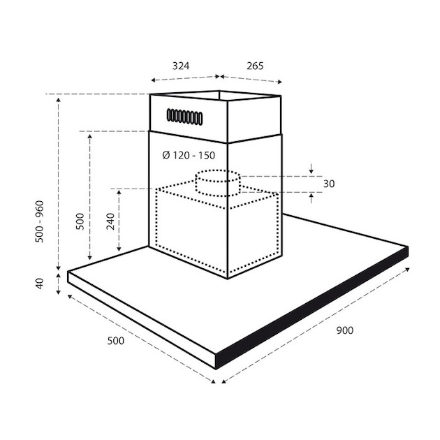 Inventum AKB9004RGT rvs/glas