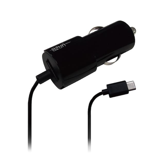 Azuri Autolader USB-C met extra USB 2.4amp 1.2m zwart