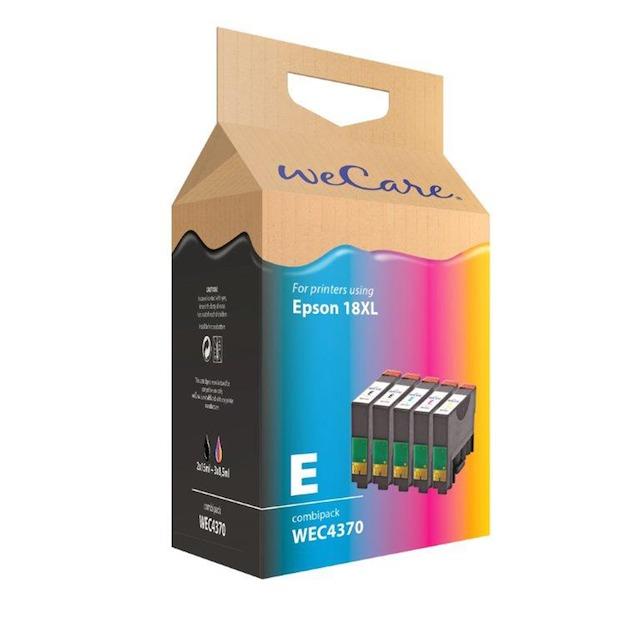 Wecare cartridge combipack zwart + kleur (5 stuks)