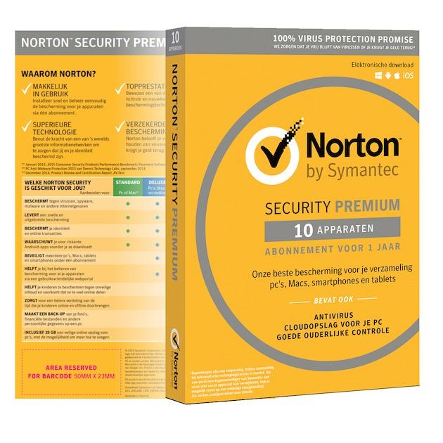 Symantec Norton Security Premium 2019 | 10 apparaten | 1 jaar | antivirus inbegrepen