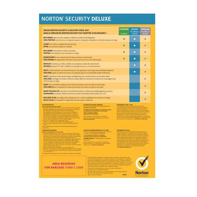 Symantec Norton Security Deluxe 2019 | 3 apparaten | 1 jaar | antivirus inbegrepen