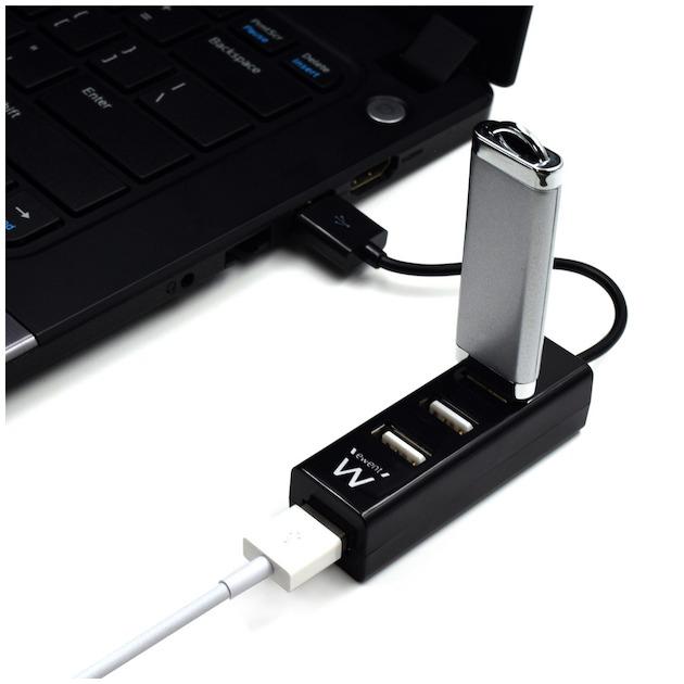 Ewent 4 poorts USB hub mini USB 2.0 Zwart