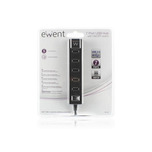 Ewent 7 Poorts USB Hub met Aan/Uit Knop USB 2.0, Zwart
