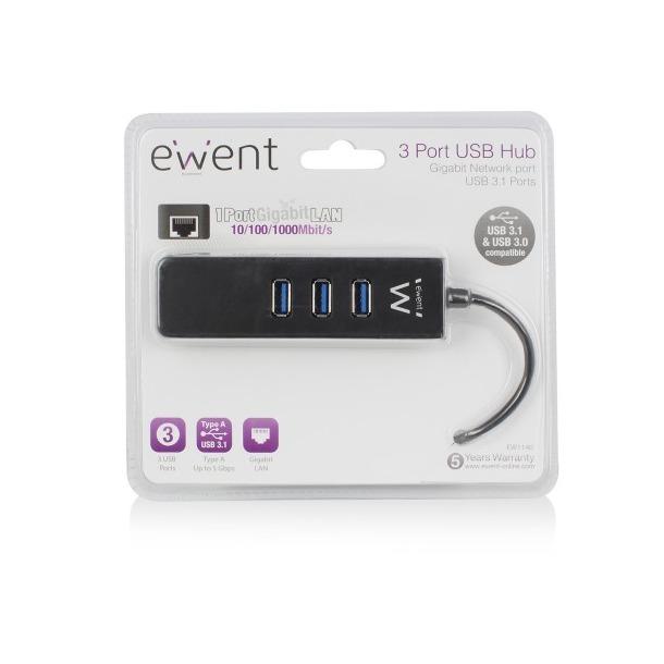 Ewent 3 Poorts USB Hub met Gigabit netwerkpoort / USB 3.1 Gen1