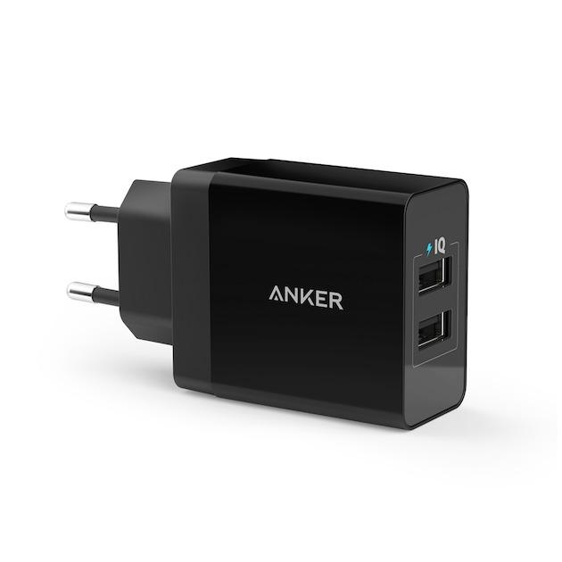Anker 24W 2-PORT USB CHARGER zwart