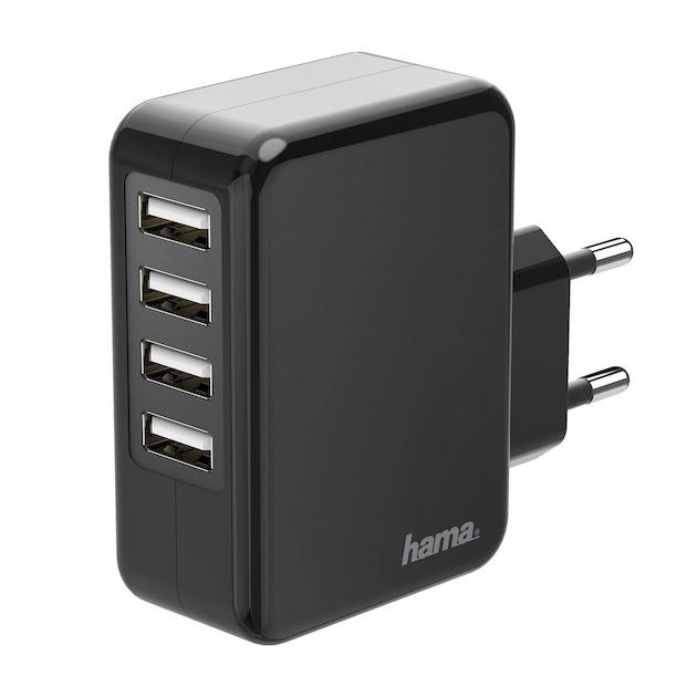 Hama Acculader 4x USB-poorten, (4,8 A) zwart