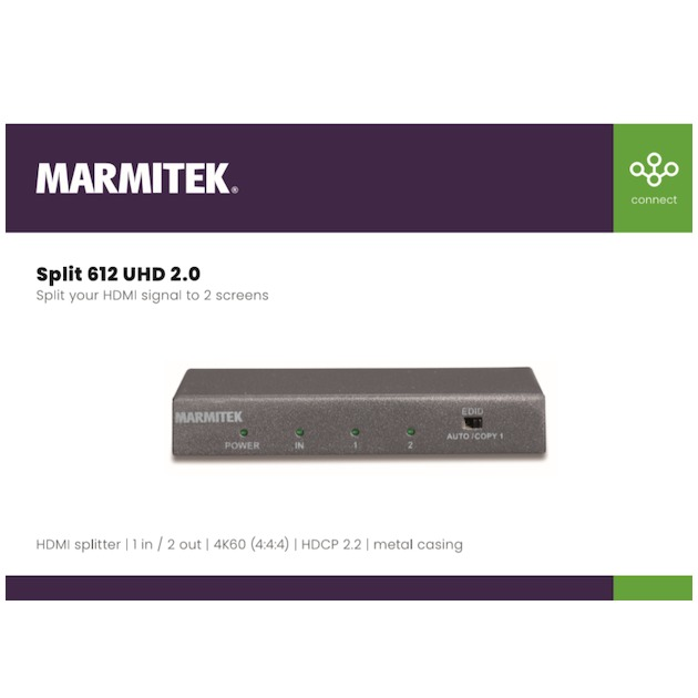 Marmitek SPLIT 612 UHD 2.0 zwart