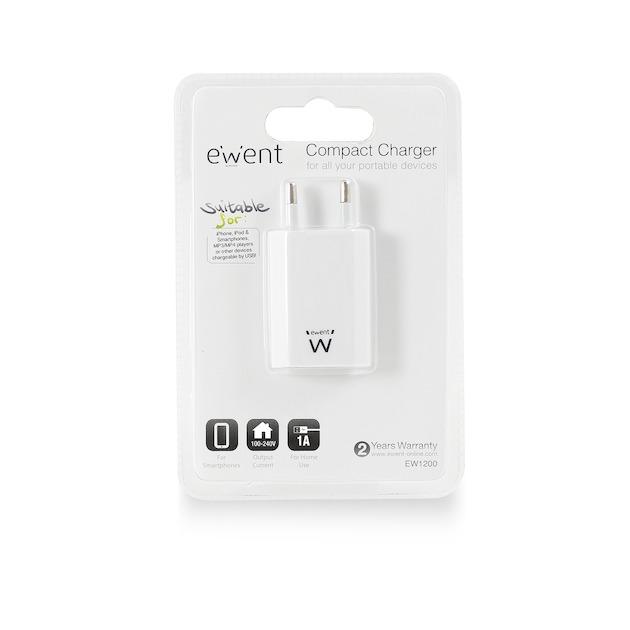 Ewent EW1200 - Universele lader met 1 USB-poort (1A) wit