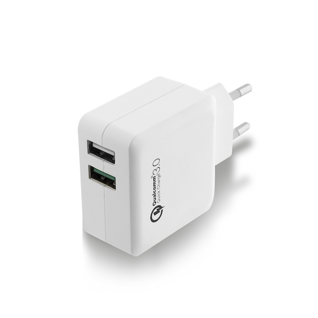 Ewent EW1233 - Universele lader met 2 USB-poorten (4A) Quick Charge wit