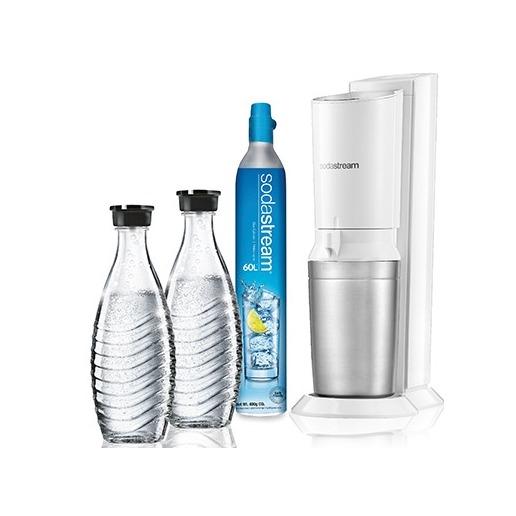 Expert-Sodastream Crystal White toestel incl. 2 glazen karaffen en 60L CO2 cilinder-aanbieding