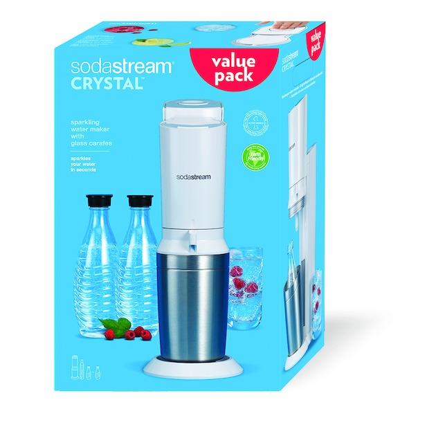 Sodastream Crystal White toestel incl. 2 glazen karaffen en 60L CO2 cilinder