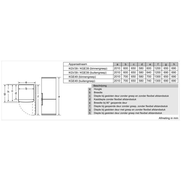 Bosch KGE49VI4A XXL rvs