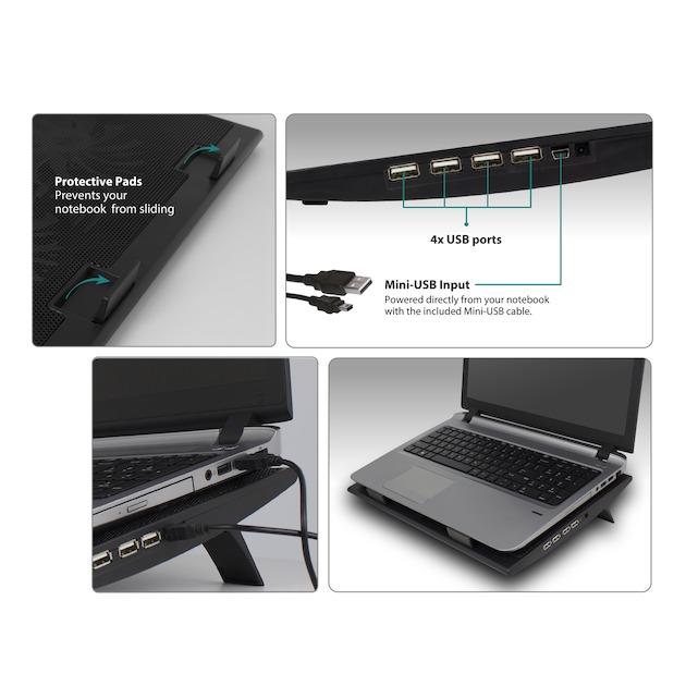 Ewent Notebookstandaard met koeling en USB hub
