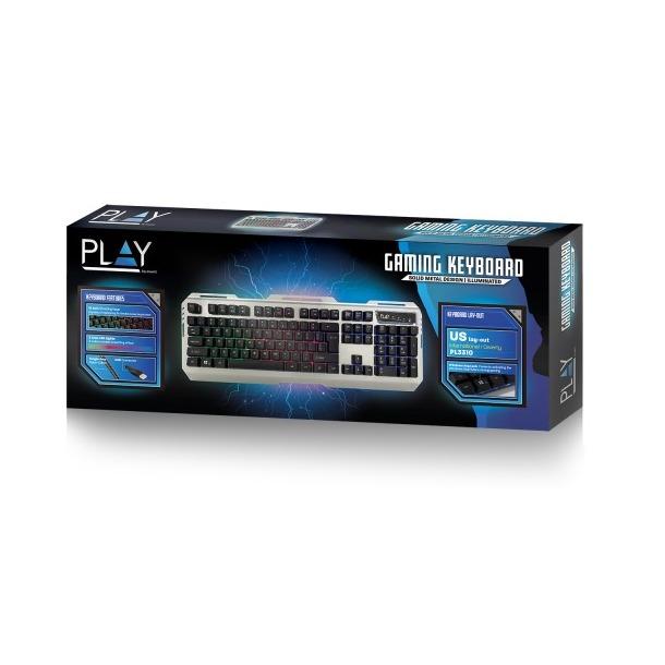 Ewent Gaming toetsenbord verlicht US layout zwart/zilver
