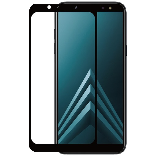 Azuri 2x Tempered Glass flat RINOX ARMOR voor Samsung A6 (A600) zwart