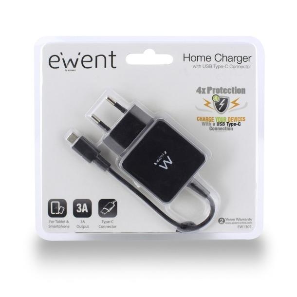 Ewent EW1305 - Thuislader met USB Type-C connector (3A) zwart
