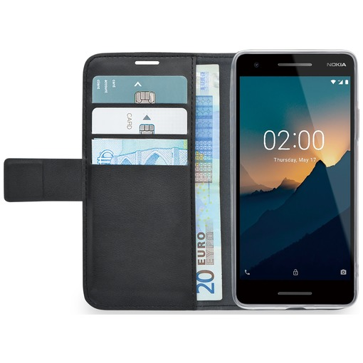 Azuri Walletcase magnetic closure & 3 cardslots Nokia 2 (2018) zwart