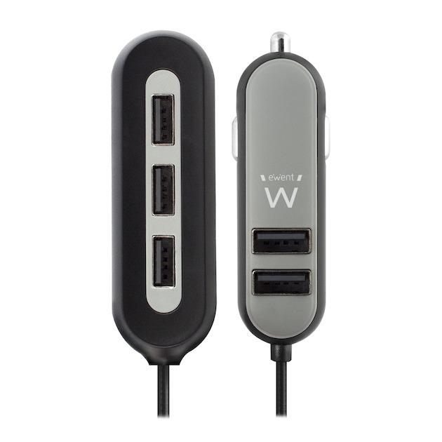 Ewent EW1355 - Autolader met 5 USB-poorten (10.8A) zwart