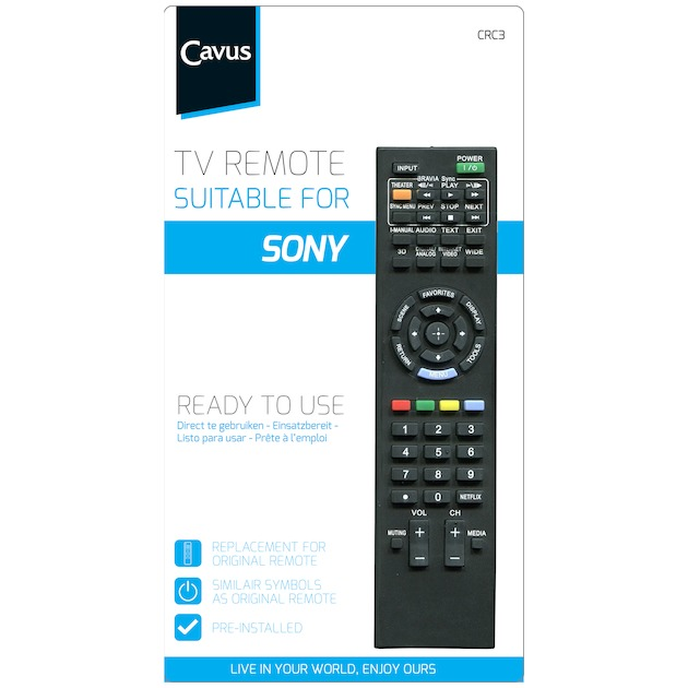Cavus TV afstandsbediening voor Sony zwart