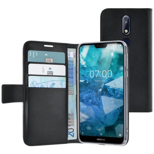 Azuri Walletcase met magnetische sluiting en 3 cardslots- voor Nokia 7.1 (2018) zwart