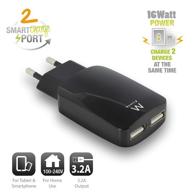 Ewent EW1312 - Universele lader met 2 USB-poorten (3.2A) zwart