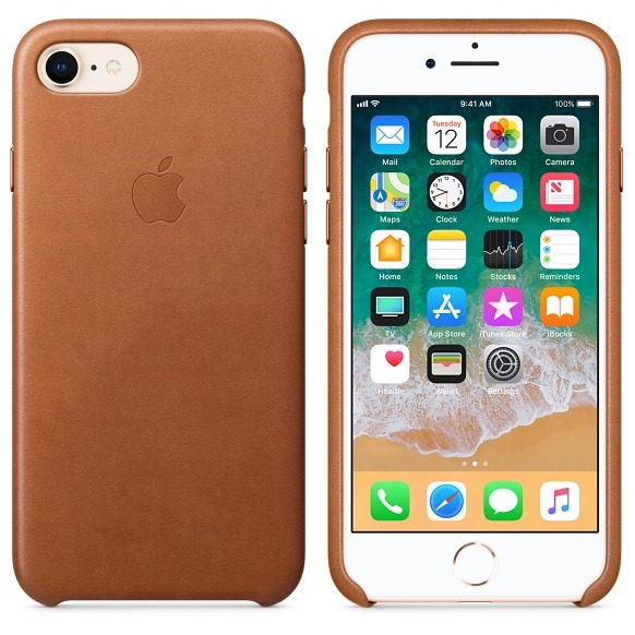Apple Leather Back Cover voor Apple iPhone 7/8 bruin