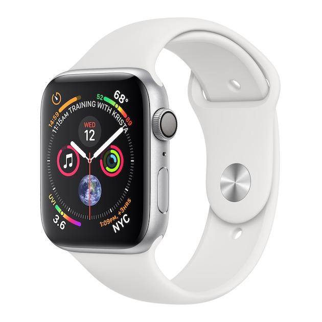 Apple Watch Series 4 GPS (44 mm) Aluminium met witte sportband zilver