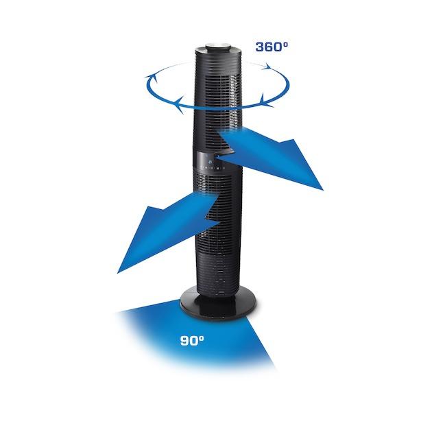 Clean Air Optima CA406B Design Tower Fan zwart