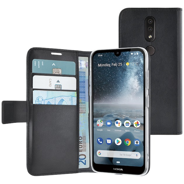 Azuri walletcase - magnetic closure & 3 cardslots - Nokia 4.2 zwart