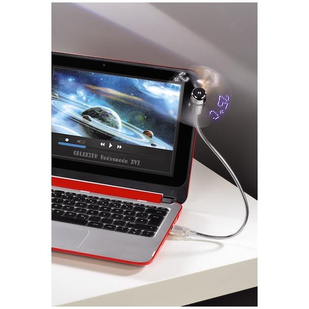 Hama USB ventilator met temperatuur aanduiding Grijs