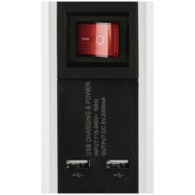 Hama Stekkerdoos 5-voudig aluminium + 2 USB schakelaar