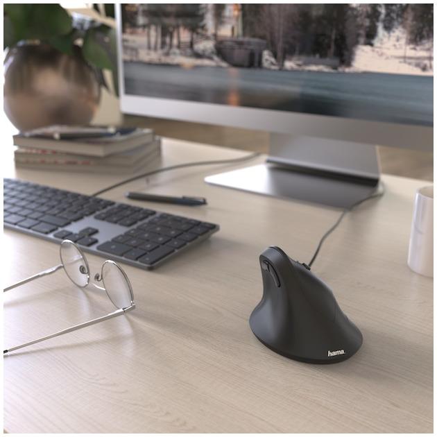 Hama Ergonomische muis EMC-500, met kabel zwart