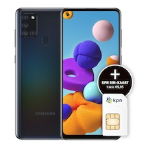 Samsung Galaxy A21s Black incl. KPN 3in1USIM Zwart