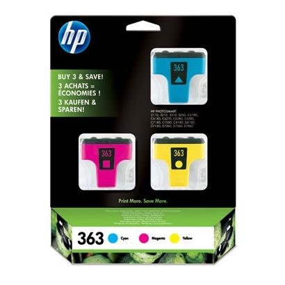 HP 363 3pack kleur cyaan, magenta, blauw
